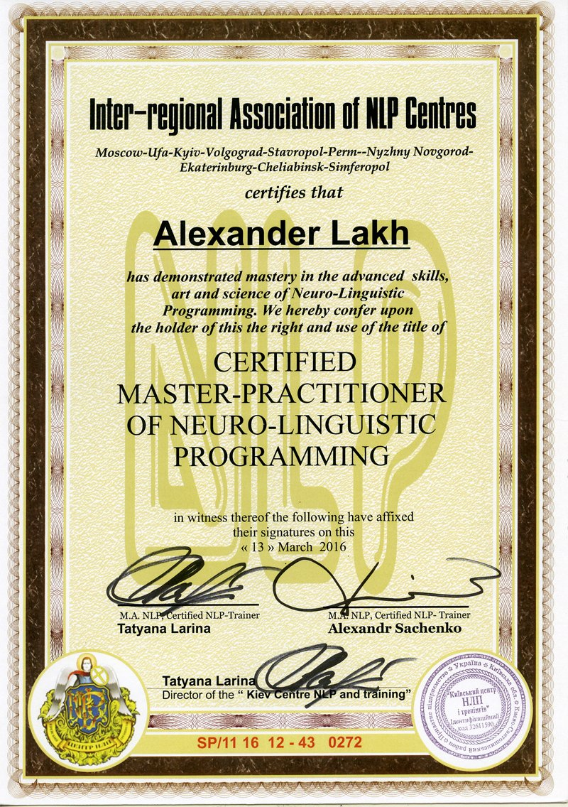 Certificate Neuro-linguistic programming master-practitioner.